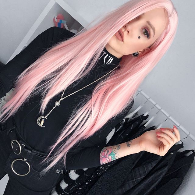 "26"" Long Pink Straight Synthetic Lace Front Wig - edw1007"