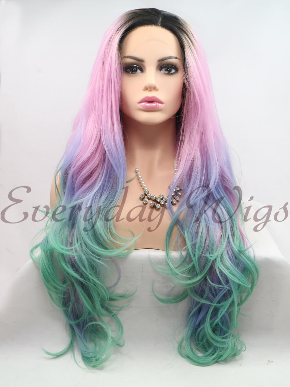 "26"" Ombre Wavy Synthetic Lace Front Wigs-edw1008"