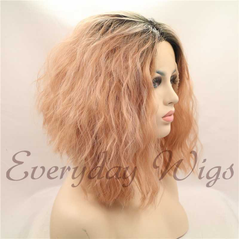 "14"" Ombre Pink bob Synthetic Lace Front Wig-edw1009"