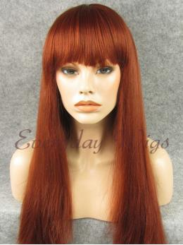 "24"" Wefted Cap Synthetic Wig with bangs - edw101"