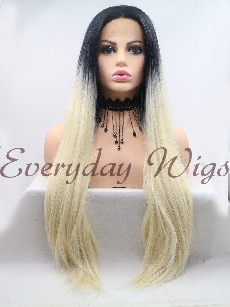 "26"" ombre blonde Synthetic Lace Front Wig-edw1010"