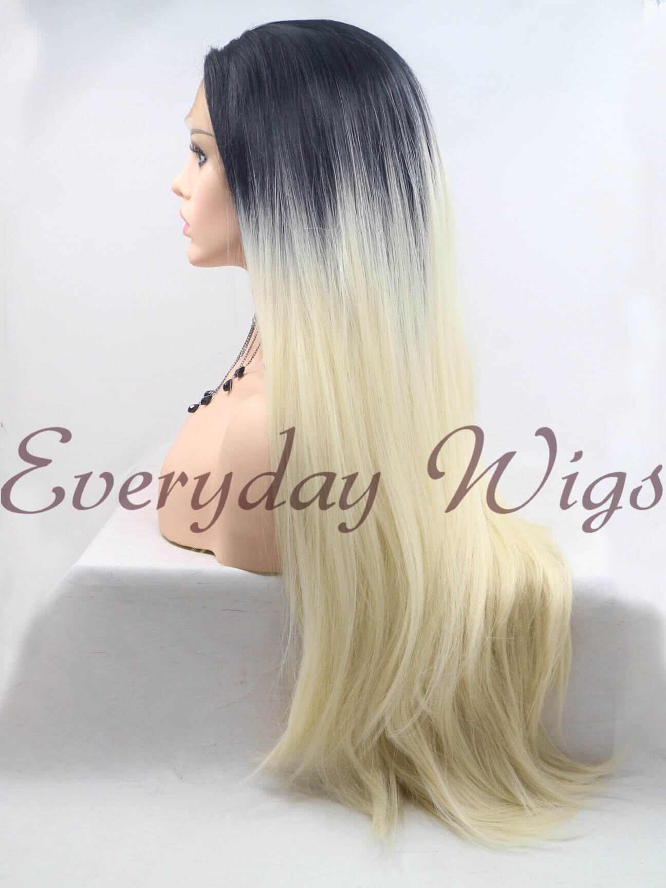 "14"" Black/Pastel blue Bob Style Synthetic Lace Front Wig-edw1010"