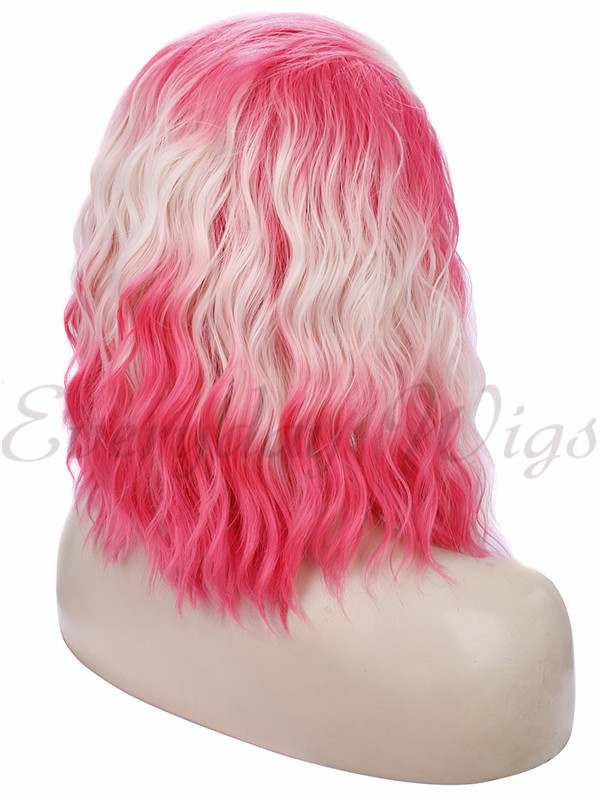 "14 "" Ombre Short Pink Synthetic Lace Front Wig-edw1011"