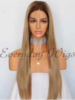 Ombre Brown Straight Synthetic Lace Front Wig-edw1012