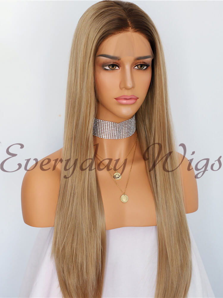 Natural Honey Blonde Ombre Straight Synthetic Lace Front Wig-edw1012