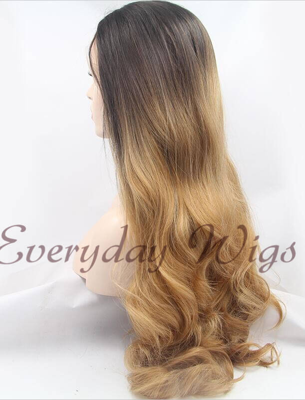 Dark Honey Blonde Ombre Wavy Synthetic Wigs-edw1013