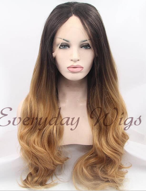 Dark Honey Blonde Ombre Wavy Synthetic Lace Front Wig-edw1013