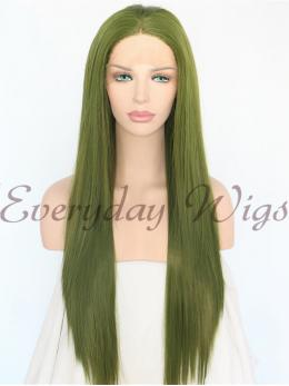 Green Straight Synthetic Lace Front Wig-edw1014