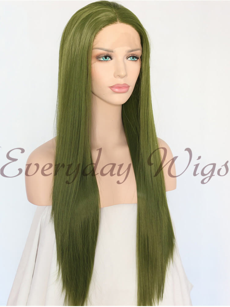 Mint Green Wavy Synthetic Lace Front Wig-edw1014