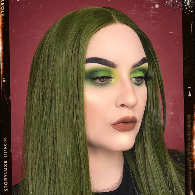 Green Ombre Wavy Synthetic Lace Front Wig-edw1014