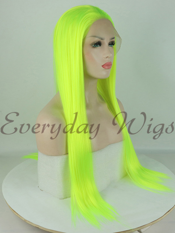 Neon Green Straight Synthetic Lace Front Wig-edw1015