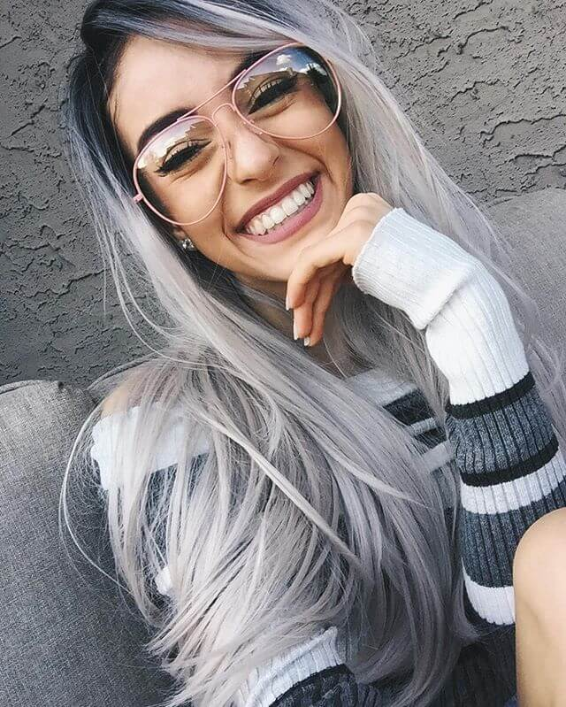"24"" Long Grey Ombre Straight Synthetic Lace Front Wig-edw1016"