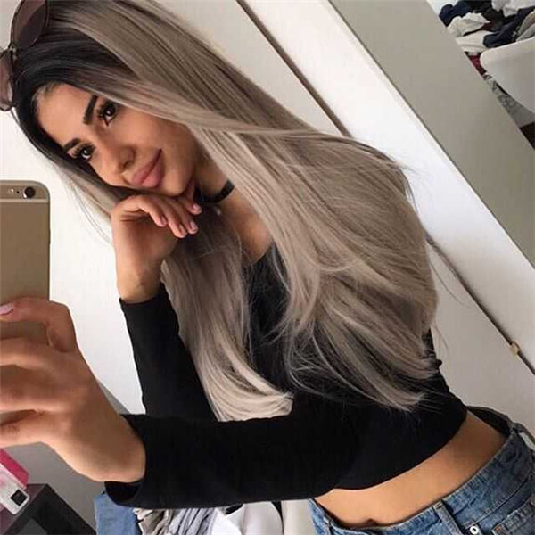 "24 "" Long Black to Grey Ombre Synthetic Hair Wig-edw1016"