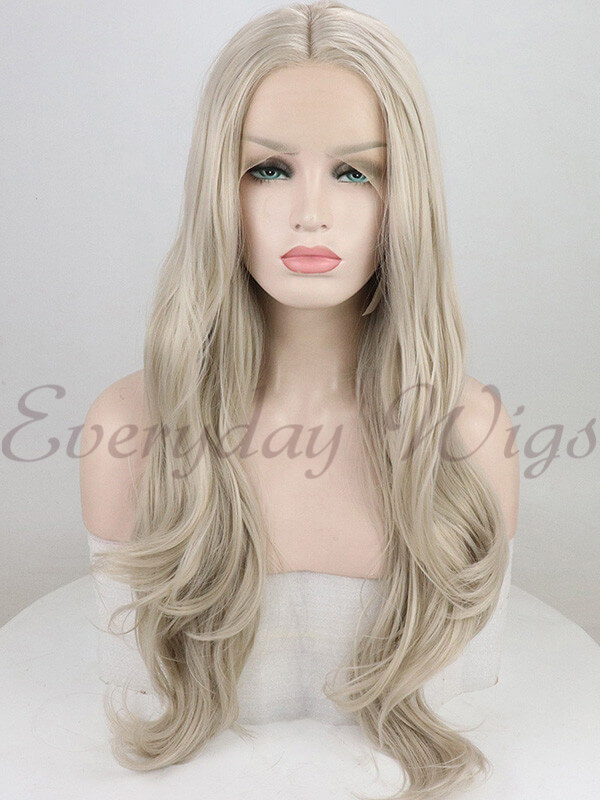 "26"" Blonde Wavy Synthetic Lace Front Wig-edw1017"