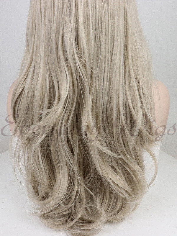 "24"" Blonde Ombre Wavy Synthetic Lace Front Wig-edw1017"
