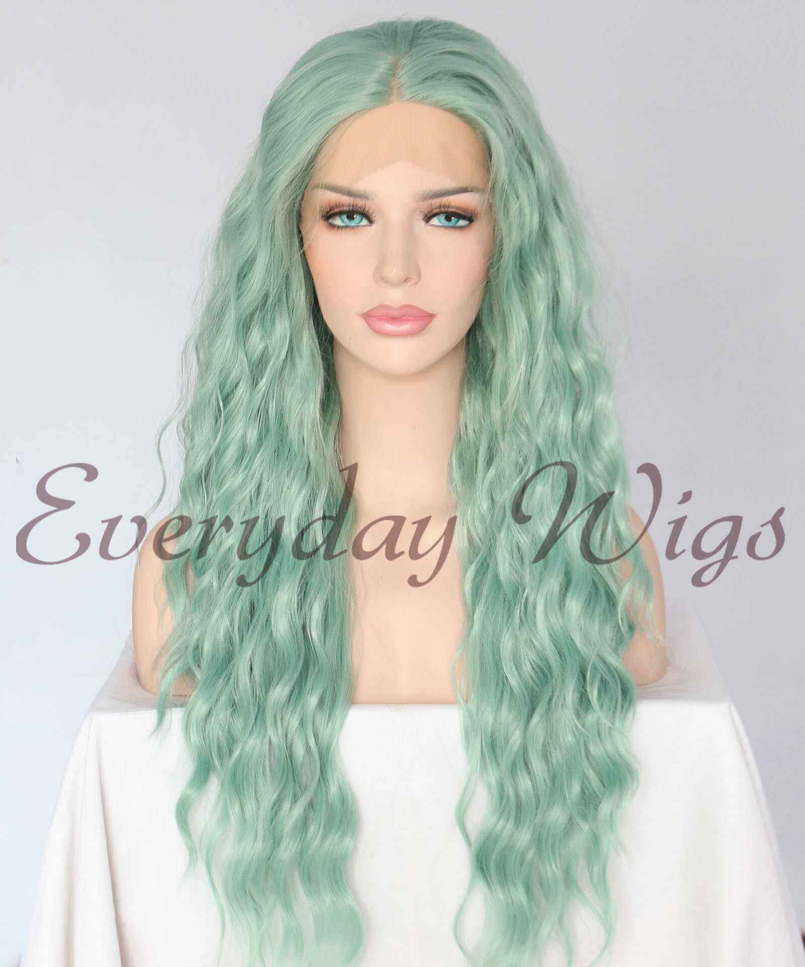 "24"" Green Slight Wavy Synthetic Wigs -edw1018"