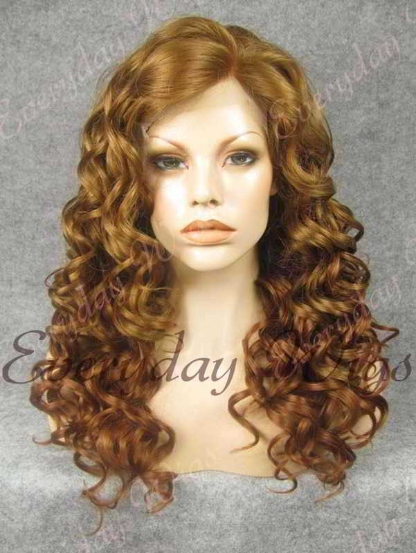 "24"" Two-tone Color Long Wavy Synthetic Lace Front Wig - edw102"