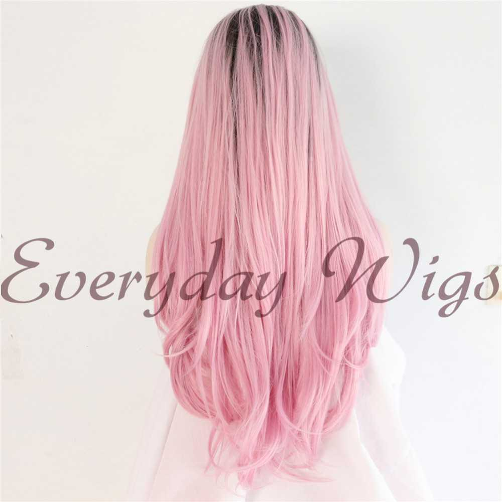 "24"" Pink Ombre Long Straight Synthetic Lace Front Wig - edw1020"