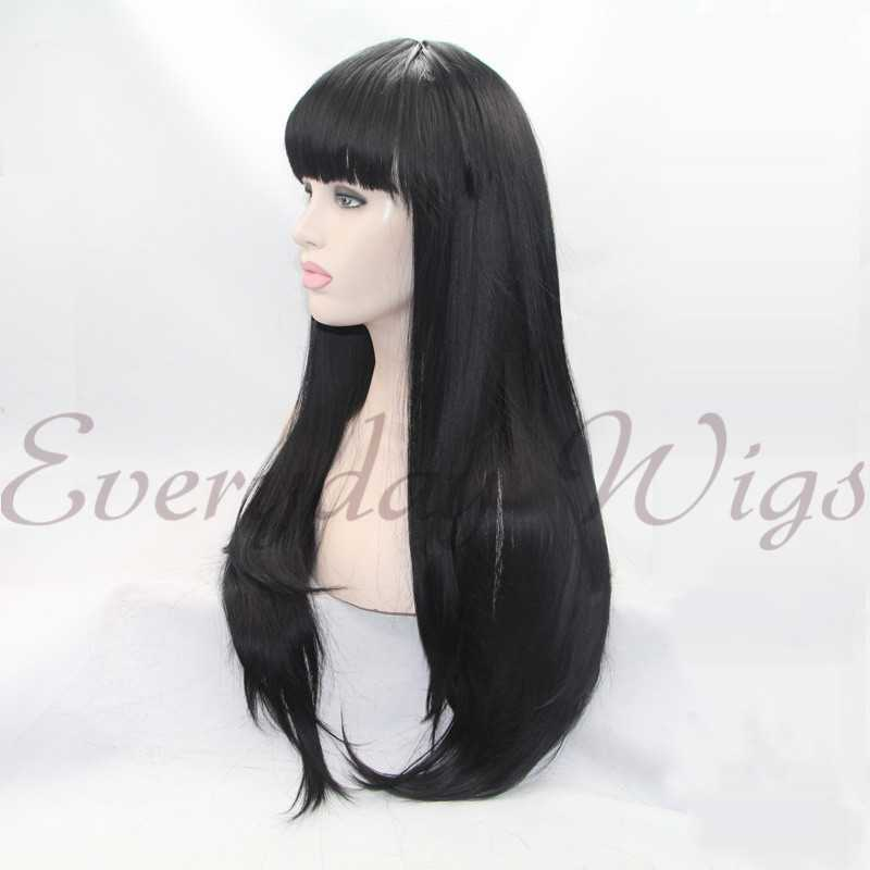 "24"" Black Lace Front Wigs with Bangs -edw1021"