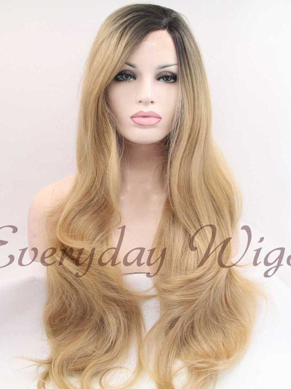 "24"" Natural Honey Blonde Ombre Wavy Synthetic Lace Front Wig-edw1022"