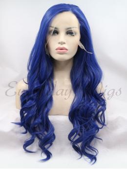 "24"" Blue WavySynthetic Lace Front Wigs-edw1023"