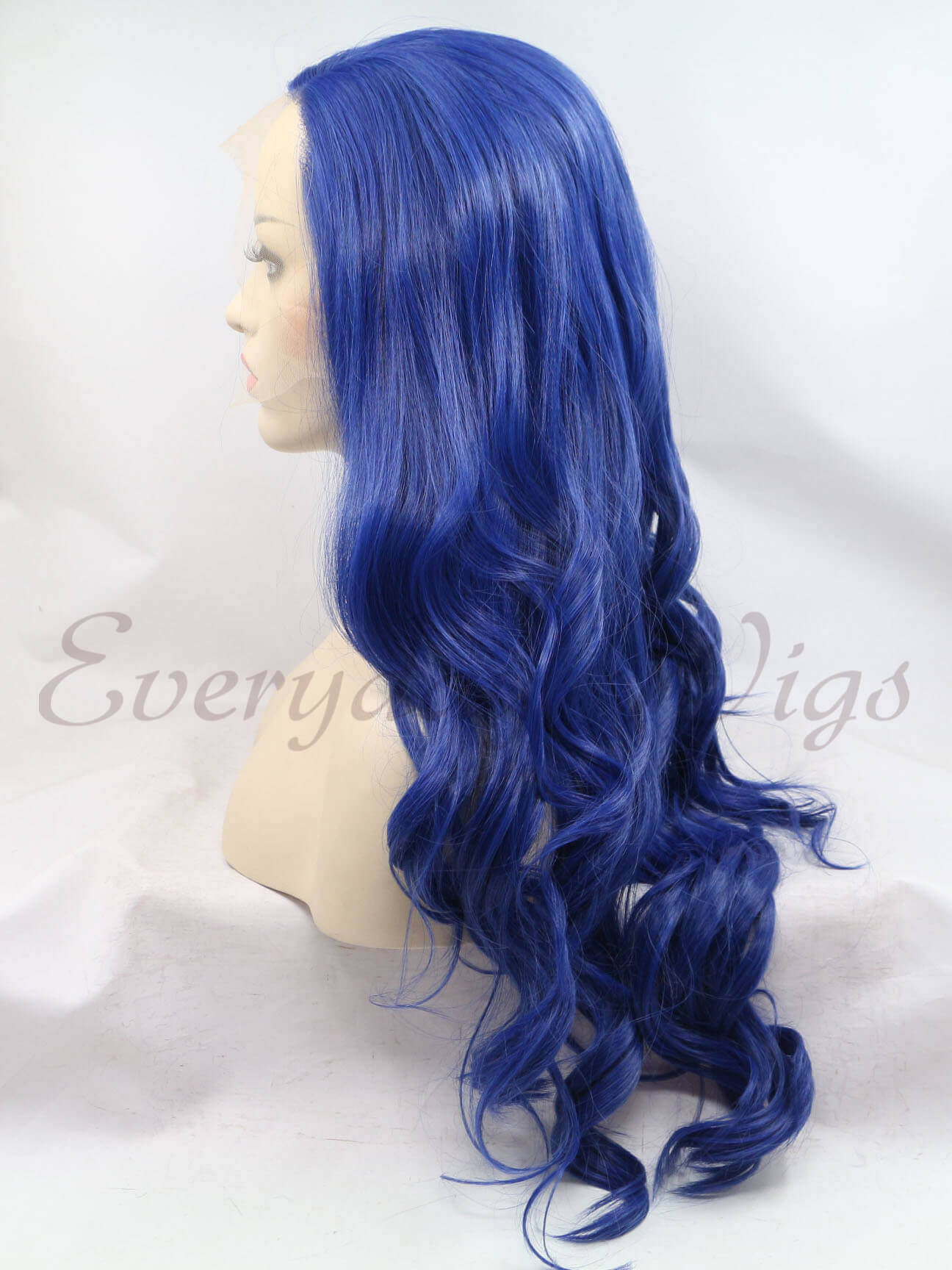 "24"" Blue Wavy Synthetic Lace Front Wigs-edw1023"