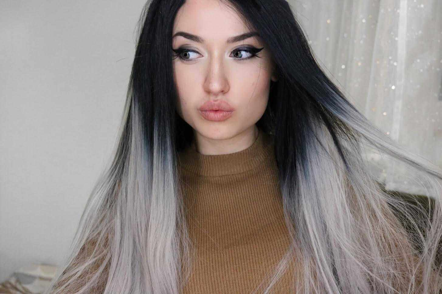 "24"" Grey Ombre Straight Synthetic Lace Front Wig-edw1024"