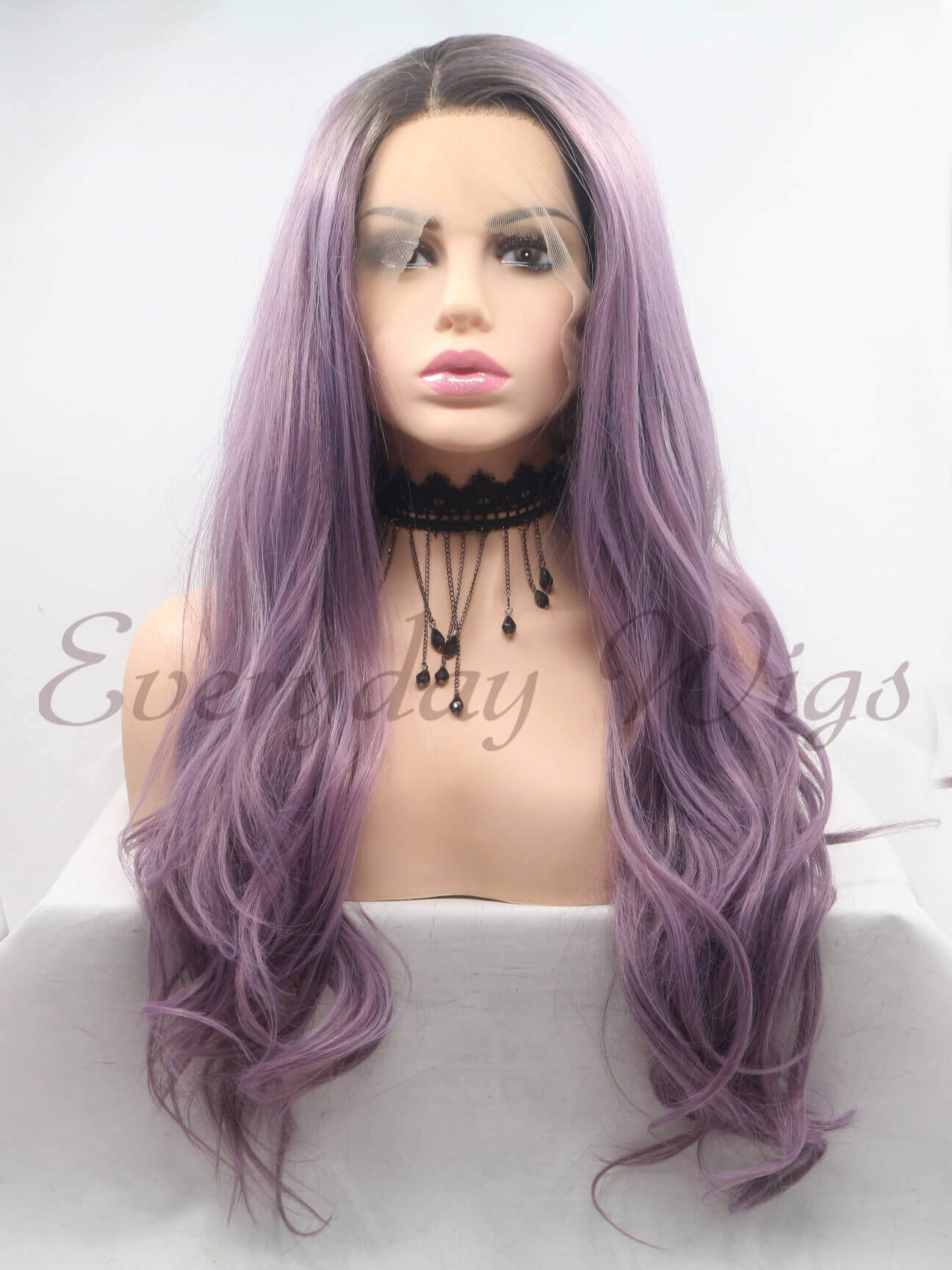 "24"" Ombre Purple Synthetic Lace Front Wig-edw1025"