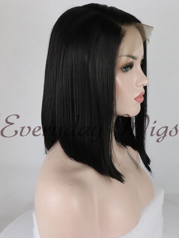 "14"" Black Short 13X6 lace Synthetic Lace Front Wig-edw1026"