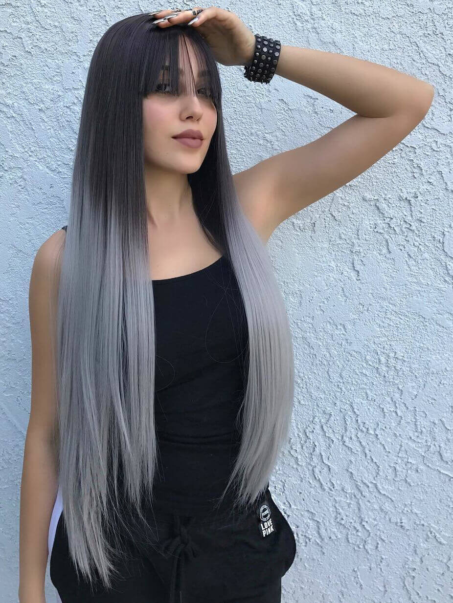 "24"" Ombre grey Synthetic Lace Front Wig with bangs-edw1027"