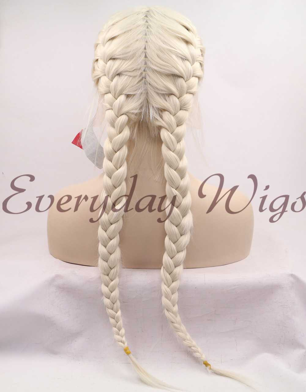 "24"" Black Synthetic Braided Lace Front Wig-edw1028"