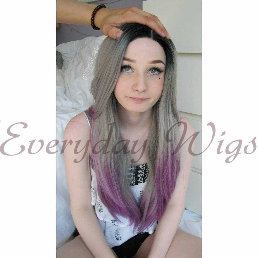 "26"" Grey/purple Ombre Color Wavy Synthetic Lace Front Wig-edw1029"