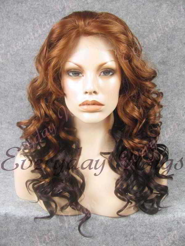 "24"" Two-tone Color Long Wavy Synthetic Lace Front Wig - edw103"