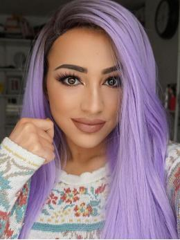 """24"""" Black/Lavender Ombre Straight Synthetic Lace Front Wig-edw1030"""