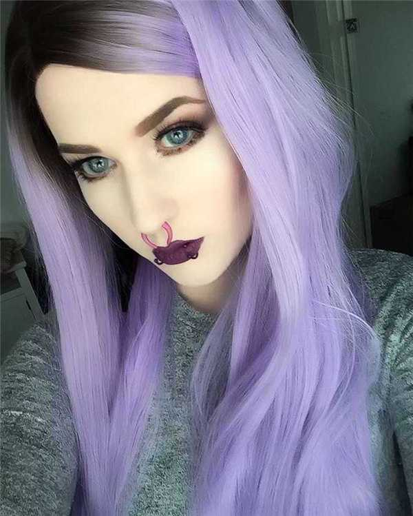 "24"" Black/Lavender Ombre Straight Synthetic Lace Front Wig-edw1030"