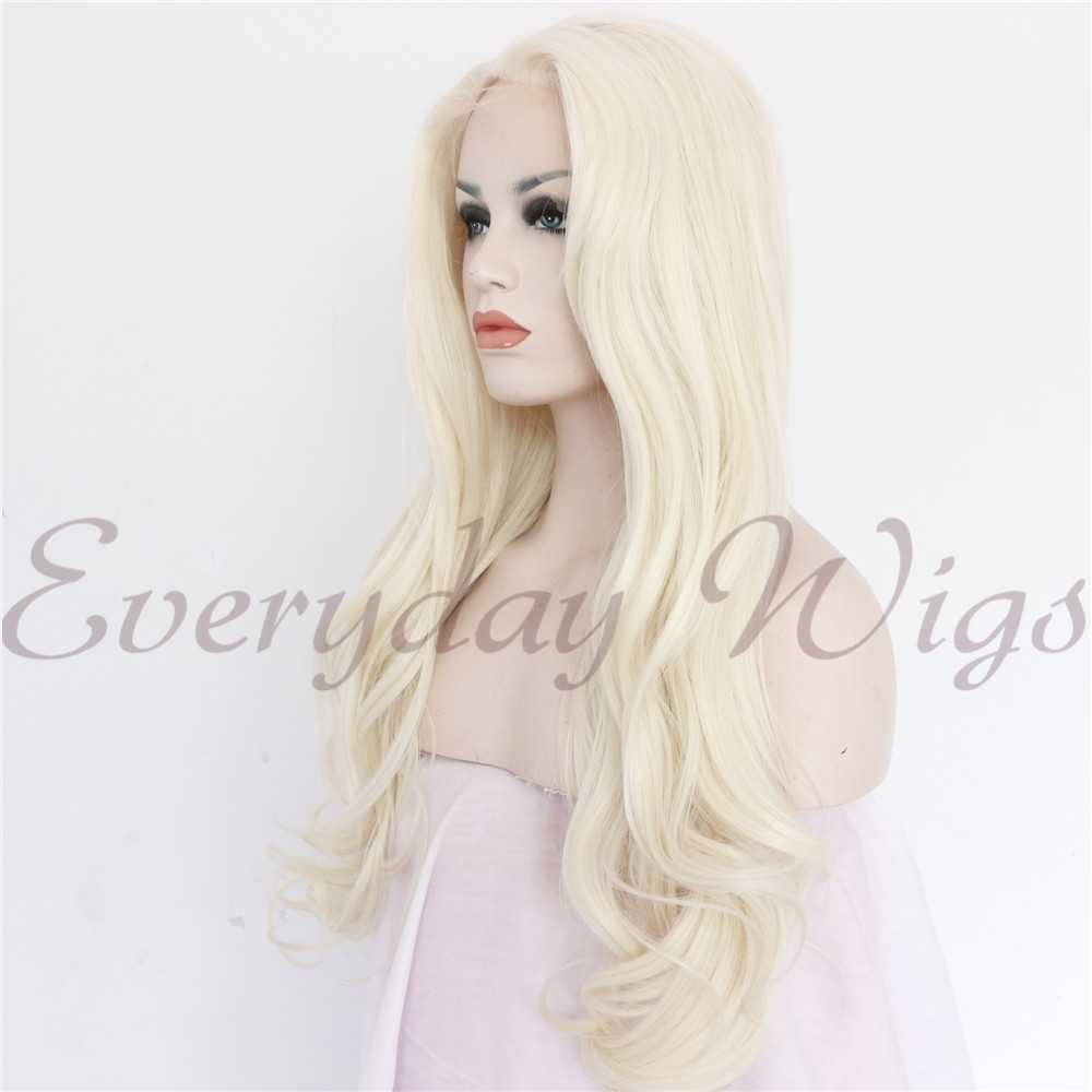 "24"" Blonde Wavy Synthetic Lace Front Wig-edw1031"