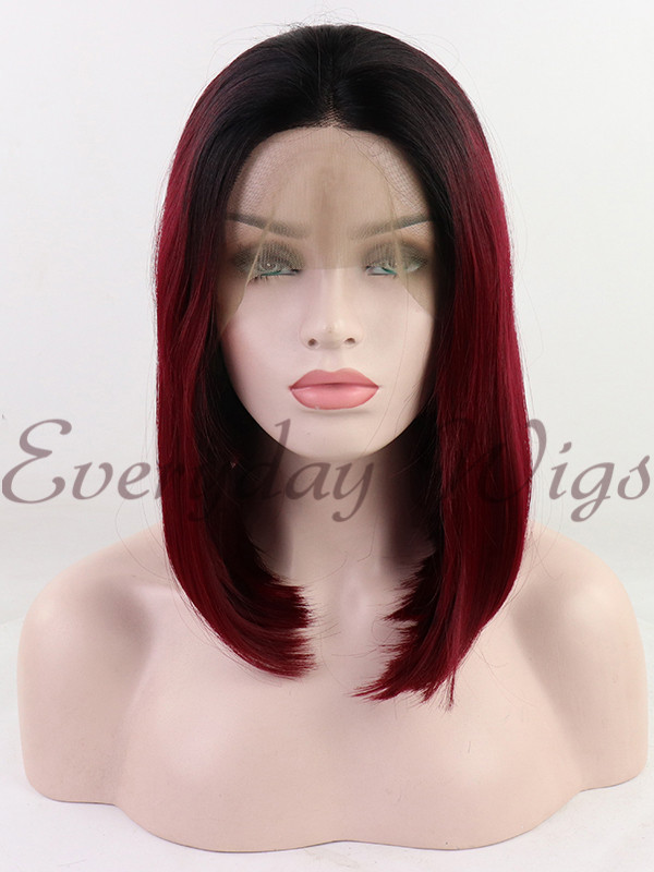 "24"" Three-tone Color Straight Synthetic Lace Front Wig-edw1032"