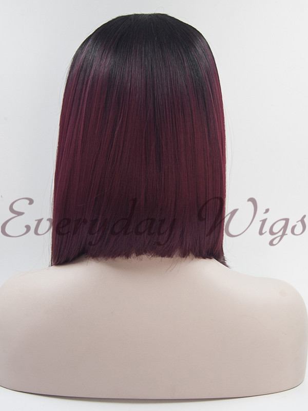 "14"" Ombre Red Short Synthetic Lace Front Wig-edw1032"