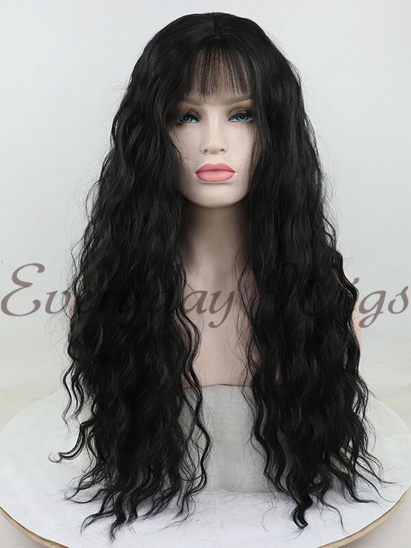 "24"" Black Wavy Synthetic Lace Front Wig with Bangs-edw1033"