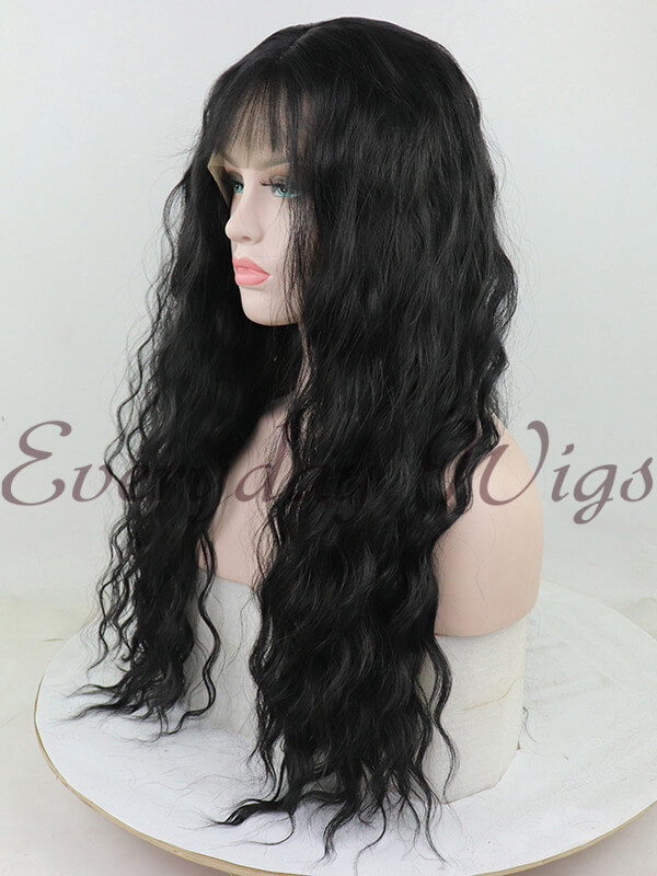 "22"" Green Ombre Wavy Synthetic Lace Front Wig-edw1033"