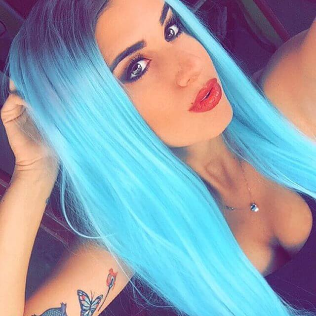 "24"" Light Blue/Black Straight Synthetic Lace Front Wig-edw1035"