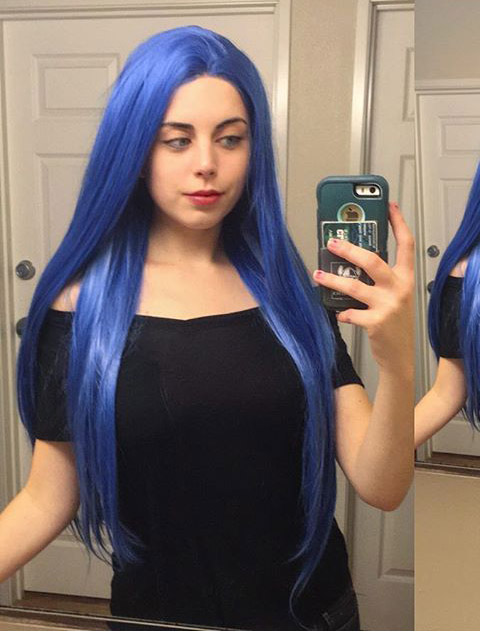 "24"" Long Blue Straight Synthetic Lace Front Wig-edw1036"