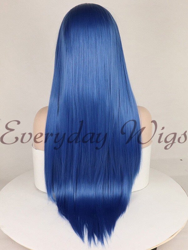 "24"" Teal Blue Wavy Synthetic Lace Front Wig-edw1036"