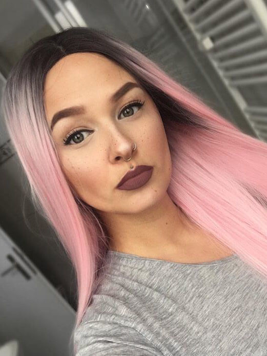 "26"" Black Pink Straight Ombre Synthetic Lace Front Wigs-edw1039"