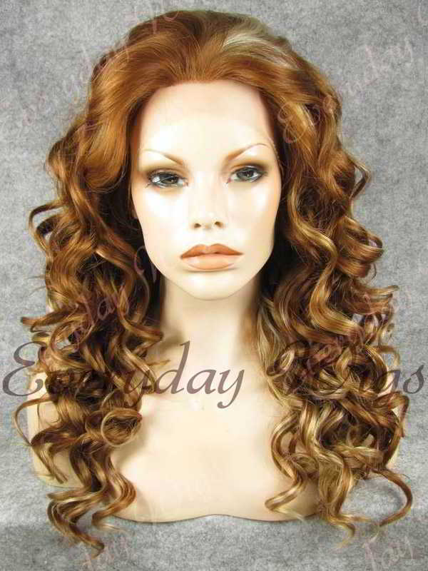 "24"" Highlight Color Long Wavy Synthetic Lace Front Wig - edw104"