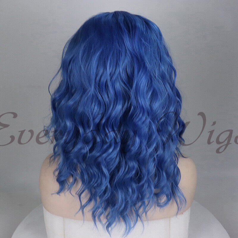 "14"" Short Blue Wavy Synthetic Lace Front Wig-edw1040"