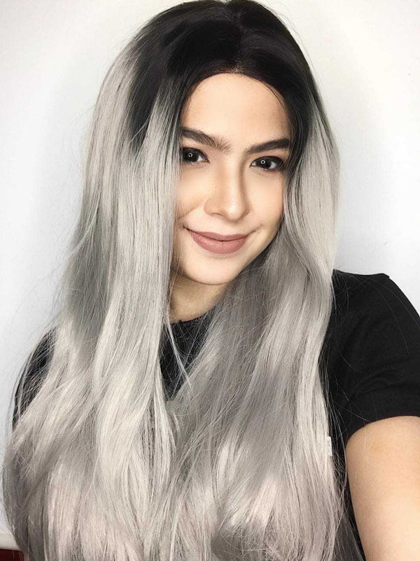 "24"" Black to grey Ombre Straight Synthetic Wigs-edw1041"