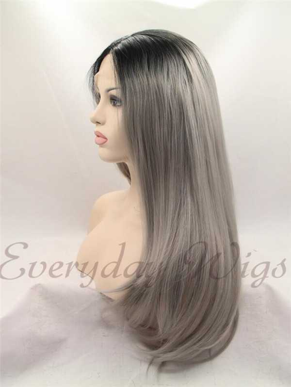 "24"" Black Grey Ombre Color Straight Synthetic Lace Front Wig-edw1041"