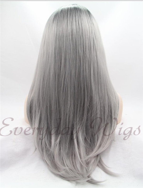 "24"" Black to grey Ombre Straight Synthetic front lace Wig-edw1041"