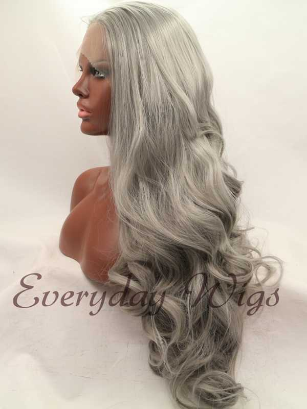 "26"" Dark Grey Wavy Synthetic Lace Front Wig-edw1042"